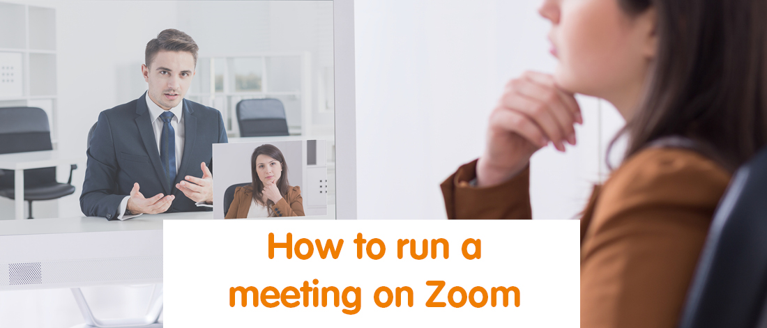 A virtual Assistant running a meeting on Zoom