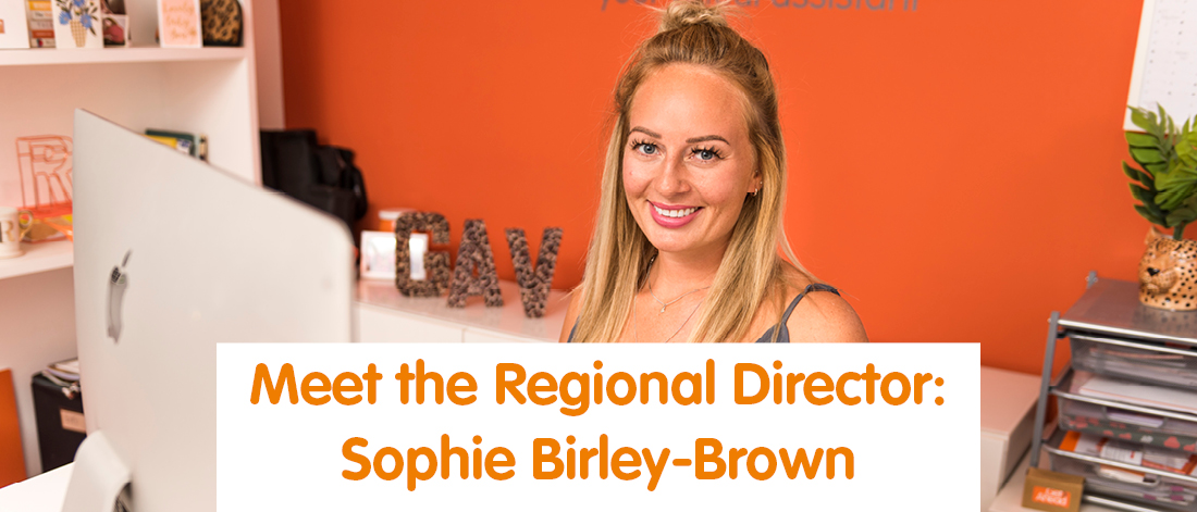 Sophie Birley-Brown sitting in Get Ahead office